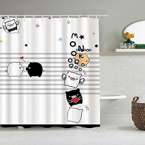 MANISENG Duschvorhang aus Polyestergewebe,Cartoon Schwein Schwarz Weiß Schöne Schwein Flügel,mit 12 dekorativen Badvorhängen aus Kunststoffhaken 72 x 72 Zoll