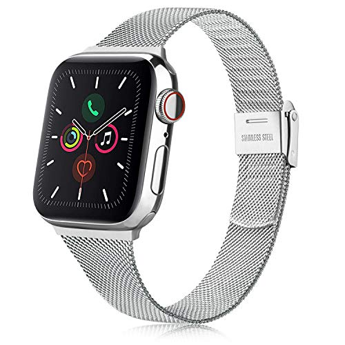 Senka Metal Correa Compatible con Apple Watch 38mm 40mm 42mm 44mm, Pulsera de Repuesto de Hebilla Ajustable Acero Inoxidable Fina Correa para iWatch Series SE 6 5 4 3 2 1 (38mm/40mm, Plata)