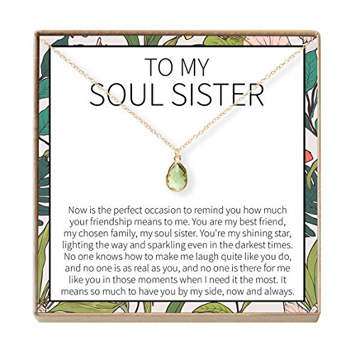 Dear Ava Soul Sisters Gift Necklace: Best Friends, BFF, Long Distance, Friends Forever (August Birthstone)