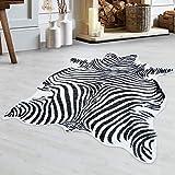 Carpetsale24 Alfombra IMITACIÓN Cuero SINTÉTICO, IMITACIÓN Cuero SINTÉTICO Alfombra Cebra Piel Lavable, Blanco, Talla:150x200 cm, Lalee Farbe:Negro