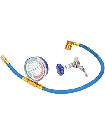 R134A A//C Refrigerant Charging Pipe with Gauge Adapter Wovatech Car Auto Air Conditioning Refrigerant Recharge Measuring Hose Gauge Kit