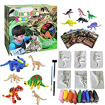 Dino Fossil Dig Kit Science Archaeology STEM Learning & Education Dinosaur Toys with 6 Dino Fossil Kits 9 Clay Kits 6 Dino Mini Figures 6 Cards & Tools for Kids Toddlers Boys & Girls Age 3 4 5 6 7 8