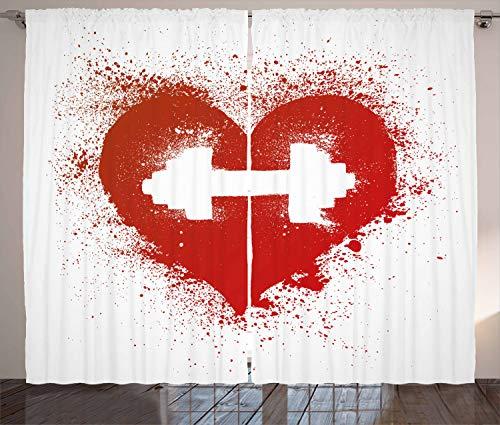 ABAKUHAUS geschiktheid Gordijnen, Red Heart Halter Art, Woonkamer Slaapkamer Raamgordijnen 2-delige set, 280 x 260 cm, Rood en wit