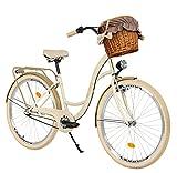 Milord. 26 Zoll 3-Gang Creme-braun Komfort Fahrrad mit Korb und Rückenträger, Hollandrad,...