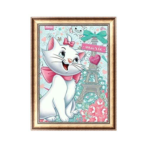 Xurgm DIY Diamant Malerei Weiße Katze 5d Diamond Painting Voll Handgemachtes Klebebild mit Digitale Sets Schöne Stickerei Malerei Kreuzstich Wanddekoration