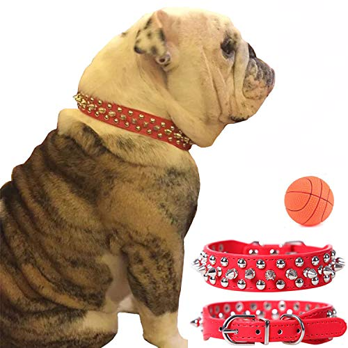 teemerryca Adjustable Microfiber Leather Spiked Studded Dog Collars with a Squeak Ball Gift for Small Medium Large Pets Like Cats/Pit Bull/Bulldog /Pugs/Husky, Red, M 11.8-14.9 inches