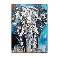 キャンバスに印刷抽象絵画象の壁アートモーデン動物キャンバス絵画ポスタープリント動物のアートワーク家の装飾-60x90cmフレームなし