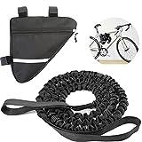 Cuerda de remolque para bicicleta, 4,5 m, para niños y padres, cuerda elástica con gancho de seguridad, hasta 500 lb/225 kg, con bolsillo triangular para bicicleta de montaña, niños o adultos