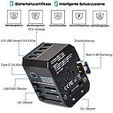 Reiseadapter Reisestecker Weltweit 224+ Ländern 5.6A Fast Charge Universal Travel Adapter mit 4 USB Ports+Typ C und AC Steckdosenadapter Internationale Reiseadapter für USA Europa UK Australien Usw - 3