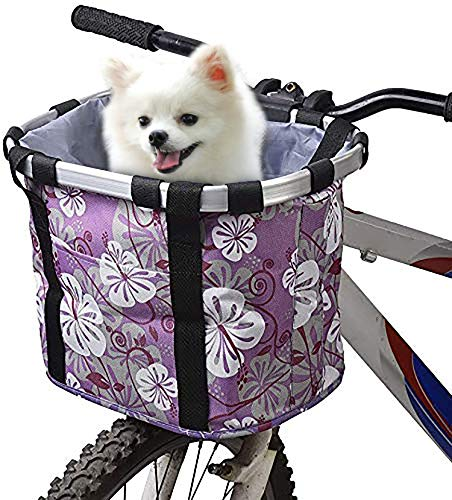 URBEST Bike Basket,Small Pets Cat Dog Folding Carrier,Removable Bicycle Handlebar Front Basket, Quick Release and Easy to Install,Detachable Cycling Bag (Purple Flower)
