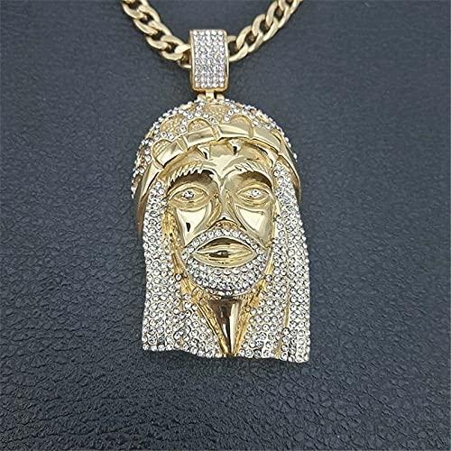 ZLININ Retro Jesucristo Cabeza Collar Colgante Collar clásico Corona Joya Cubo Cristal Collar Hip Hop Cristo Colgante Ornamento (Metal Color : Gold)
