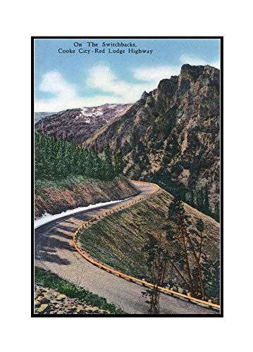 Montana - Scenic Drive along the Beartooth Mountains on the Beartooth Highway (23 1/8x36 Framed Gallery Wrapped Stretched Canvas)