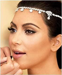 Zoestar Crystal Head ChainBridal Wedding Headband Silver Fashion Headpiece Jewelry for Women and Girls