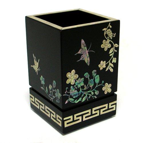 Pot à Crayons Stylos Bois Noir Romantique Oriental Fleurs Nacre incrustée Corée