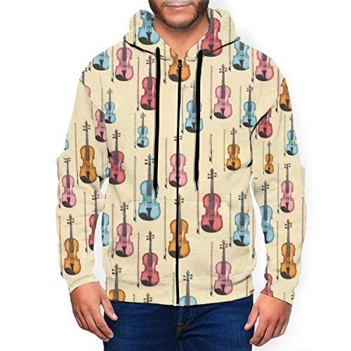 Hangdachang Colorido violn para hombre sudaderas con capucha con cremallera casual sudadera con capucha