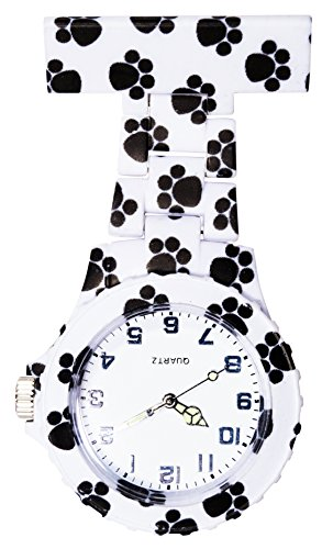 Ellemka - Schwestern | Herren Damen Unisex | FOB Ansteckuhr | Analoge Uhranzeige | Digitales Quartz Uhrwerk | NS-2102 Plastik ABS Pin Band | Art Design - Dog Paws