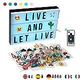EXTSUD A4 LED Lichtbox mit Fernbedienung Leuchtkasten Lightbox Leuchtbox mit 352 Buchstaben Emoji...