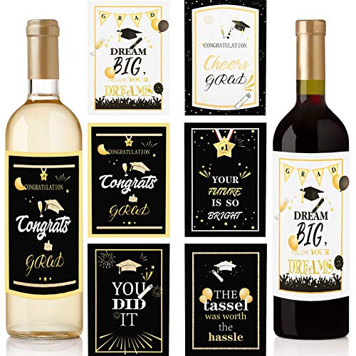24 Pieces Graduation Gift Wine Labels Stickers Graduation Beer Bottle Labels Graduation Party Bottle Stickers Graduation Present Label Sticker for College Grad Party Supply, 5.5 x 3.9 Inch, 6 Styles