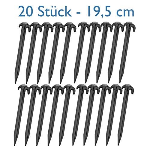 20x Piquets de tente noirs de 19,5cm, Sardines stables en plastique