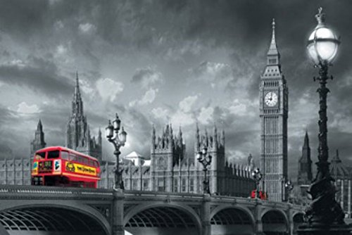 1art1 London - Roter Bus Auf Westminster Bridge 1-Teilig Fototapete Poster-Tapete 175 x 115 cm