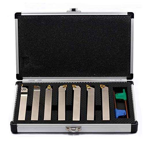 OSCARBIDE 1/2' Shank 7 Pieces/Set,Indexable Lathe Turning Tool Holder CNC Heavy-Duty Carbide Nickel Plated Lathe Bit Set for Turning Grooving Threading Cut Off Holders Set, Tin Coated Carbide Inserts