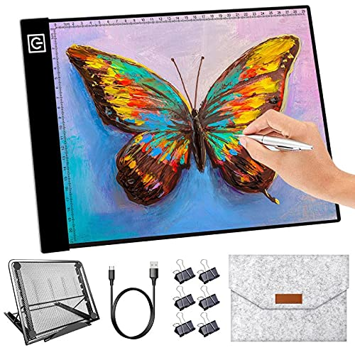 A4 LED Light Box for Tracing, GSIBLUNIE Portable & Ultra-Thin USB Powered Light Board, Adjustable Brightness Light Pad Kit for Artist Drawing, Sketching, Animation, Stenciling, Diamond Painting