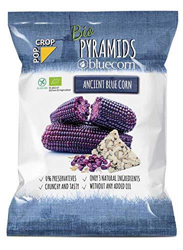 POPCROP Bio Pyramiden BLUECORN, 10 x 80 g | Knusper-Chips langsam gebacken aus blauem Mais, braunem Reis und Himalaya-Salz (
