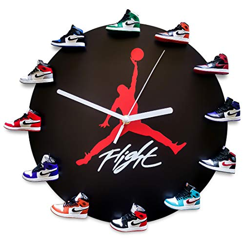 JoonieHouse Wall Clock with 3D Mini Sneakers, Decorative Sneakerhead Style Sneaker Clocks, Christmas Birthday Gift for Kids