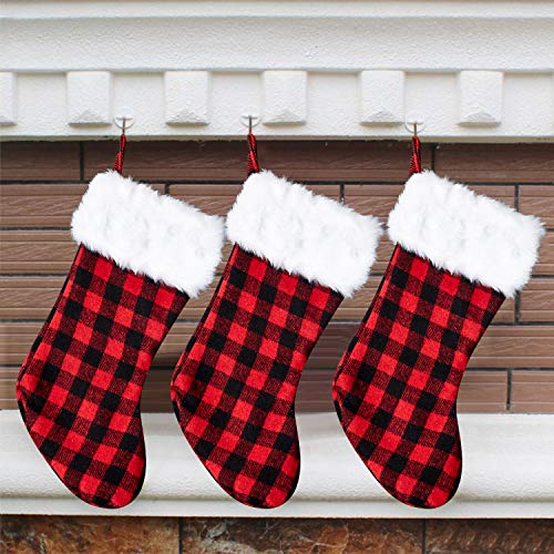 Arnzeh Christmas Stockings, 3 Pack 18 inches Red and Black Buffalo Plaid with Plush Cuff, Classic Stocking Christmas Decorations for Home Party Xmas Fireplace Hanging Ornament Gifts (Red/White)