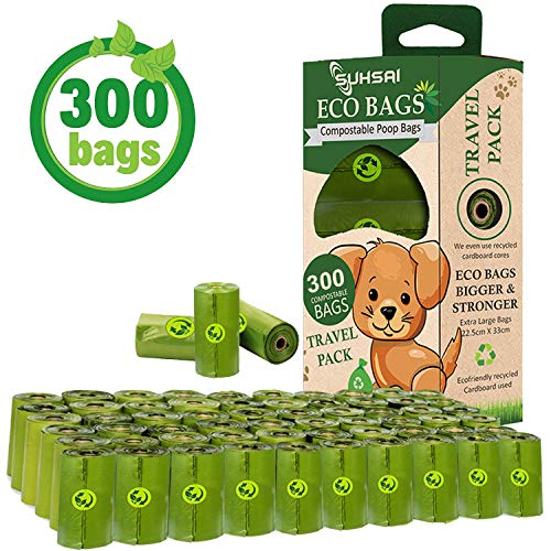 SUHSAI eco friendly Poop bags for Pets, Compostable, Extra Thick & large Dog Poo Bags for Dogs, Biodegradable Leak Proof Dog Waste Disposal Bags Poop Bags (300 Bags, 20 Rolls)