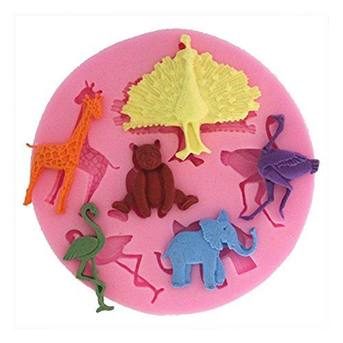 LC pavo real jirafa y avestruz X1056molde de silicona Fondant Cake Mold chocolate Baking Sugarcraft Decoración Herramientas