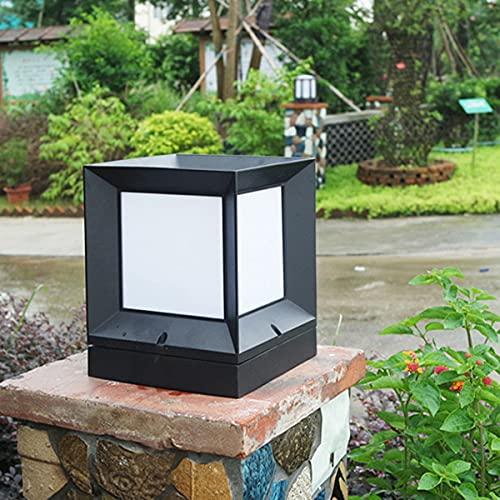 QEGY Moderno LED Farola de Jardín Blanca Cálida, Clasica Cuadrada Luces de Camino Impermeable, E27 Acrílico Lámparas de Cabeza de Columna con Aluminio Base, Luz de Paisaje Para Valla,S