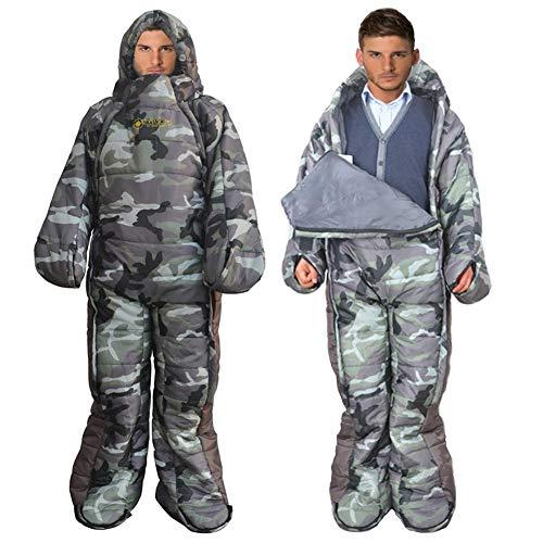 libelyef Camping Schlafsäcke Mit Füßen Beine Arme, Erwachsene Mummy Walk-Around Humanoid Schlafsack Anzug Ganzkörper Tragbare Schlafsack Für Outdoor-Aktivitäten, Wandern, Camping, Sleepover