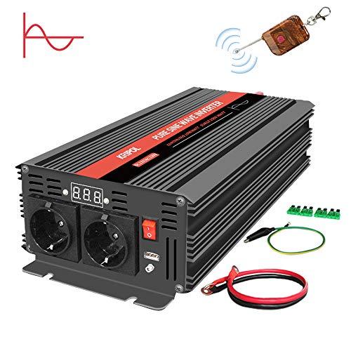 KRIPOL 1000W/2000W Reiner Sinus Spannungswandler Wechselrichter 12V auf 230V Umwandler-Inverter Konverter mit 2 EU Steckdose und USB-Port- Kabellose Fernbedienung und LED-Anzeige