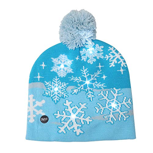 Christmas LED Hat, Witspace Warm Knitted Cap Creative Funny Stylish Beanie for Kids and Adults (Blue Snowflake)