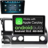 IYING Android 10.0 Car Multimedia Player Supports CarPlay & Android Auto 4GB+64GB 10.1 Inch 1280x720 IPS Screen Car Stereo Radio AM/FM GPS Navigation Bluetooth WiFi for Honda Civic 2006-2011