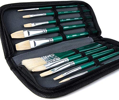 ARTIFY 10 Pcs Paint Brush Set Hog Hairs Painting Brushes with a Carrying Case Perfect for Oil product image