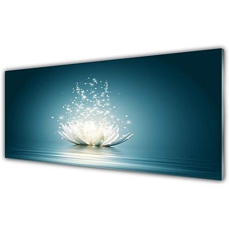 Tulup Impression sur Verre de 125x50 cm - Image - Tableau - Photo décorative panoramique - Floral Fleur De Lotus