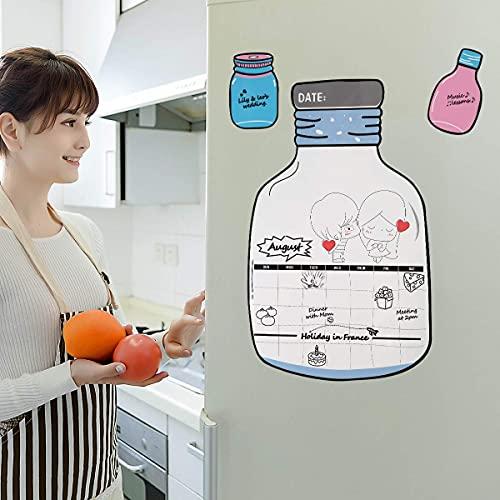 iFCOW Pizarra magnética de borrado en seco con forma de botella de deseos, calendario mensual, tablero de mensajes para nevera