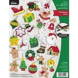 Bucilla Felt Applique Ornament Kit, 2.5' x 2.5', Christmas Minis