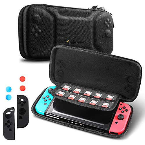 Tragetasche für Nintendo Switch, Baban Game Case mit 10 NDS-Kartensteckplätze, 2 Silikongriffabdeckung, 4 Silikonkipphebelabdeckung, Erdbebensicher, Wasserdicht Aufbewahrungstasche