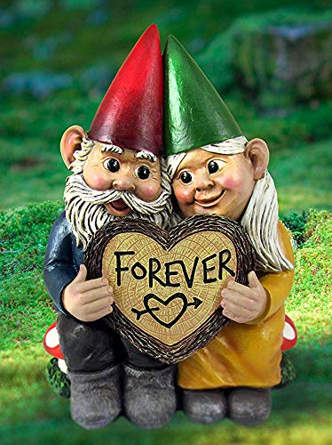 Ebros Whimsical Mr and Mrs Gnome Hobbit Couple Sitting On Toadstool Mushrooms Statue 6.25' Tall 'Forever Love Struck' Gnomes Home Decor Sculpture Figurine