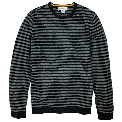 Calvin Klein Men's Regular Fit Striped Black & Grey Pullover Sweater (XX-Large)