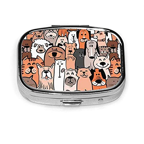 Doodle Dogs and Cats Seamless Pattern Case Portable Mini Container Organizer with 2 Compartments Square Pill Box