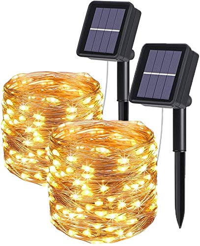 Ibello Guirnaldas Luces Exterior Solar 100 LED [2 Pack] Guirnalda Luminosa 12m Impermeable Cadena de Luces 8 Modos de iluminación para Dormitorio, Navidad, Boda, Jardín, Fiesta (Blanco Cálido)