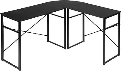 MEUBLE COSY Bureau d'Angle Ordinateur Table Forme de L Postes de Travail informatiques, Noir, 123x103x72cm