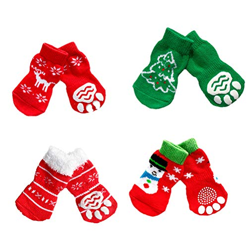 Husdjurskläder-4 par jul varma bomullsstrumpor jul tema husdjur hund katt halksockor husdjur strumpor leveranser storlek m
