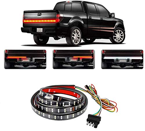 LED Tailgate Light Bar(108 LEDs)Turn Signal Tail Lights Strip 60 inch with 4 Way Flat Y-Splitter and Clean Cloth for Trucks Pickup SUV RV Van Jeeps Trailer