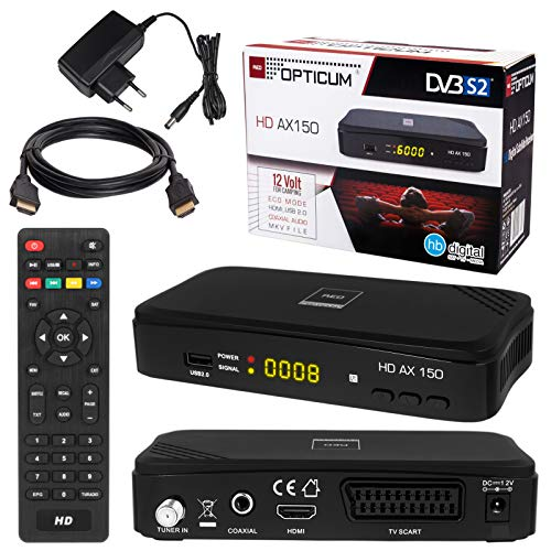 HB-DIGITAL SATELLITEN SAT Receiver Opticum AX150 Hochwertiger DVB-S/S2 Receiver mit PVR Funktion Aufnahmefähig HD Ready HDTV HDMI SCART USB Koaxial Ausgang + HDMI Kabel vergoldet
