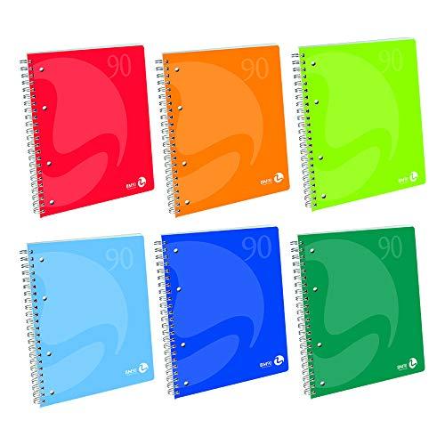 BM BeMore Spiralblock Color 60 Fg, 0105337, Spiralblock A5, Lineatur 5 mm, kariert 5 mm, Papier 90 g/m², verschiedene Farben, 5 Stück